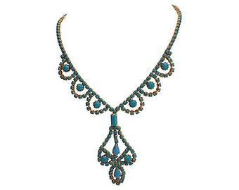 1950s Turquoise Czech Glass Necklace