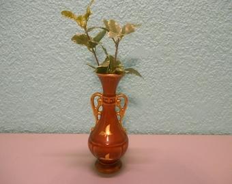 Retro Boho Gold inlay flower vase, Vintage Glass vase, Brown glass vase, Gifts, Natural decor, Neutral decor, Gold details, Gold flower vase