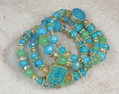 Blue & Green Beaded Bracelet Aqua Boho Chic Bohemian Style Wrap Memory Wire Stacked Handmade Jewelry for New Age Hippie Gifts for Her BJGB44