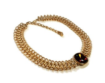 Kenneth Jay Lane Gold Triple Row Chain Link Amber Cabachon Necklace