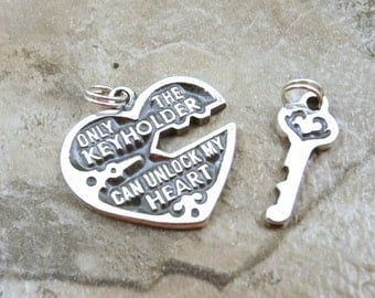Sterling Silver Heart and Key Charms on Split Rings - 0179