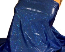 "ROYAL BLUE Shattered Glass Hologram Fabric *60"" Nylon Spandex 4W Stretch *Pageantry *Costumes* Dancewear *Swimwear"