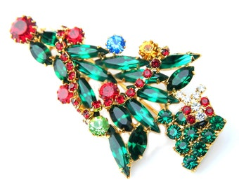 Multicolor Xmas Tree Brooch Vintage Dimensional Layered Holiday Pin Rhinestone Christmas Jewelry For Women Christmas Holiday Tree