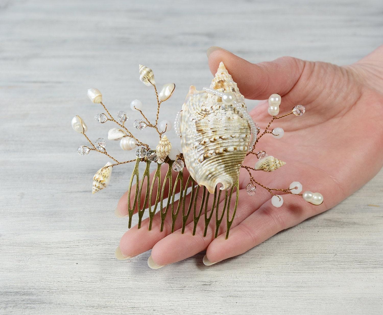 Seashell hair accessoriesseashell hair comb beach wedding for Seashells for hair