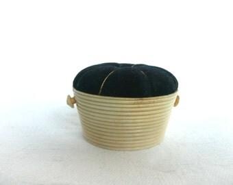 Antique pincushion - vintage pin cushion - Edwardian pincushion - celluloid and velvet pincushion - Victorian pincushion