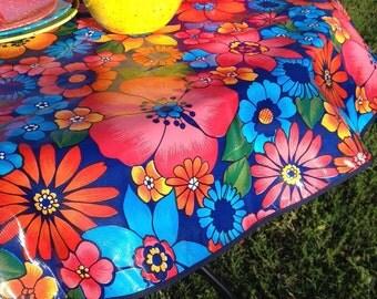 """47.5"""" Round Oilcloth Tablecloth NAVY Flora w/ NAVY Trim  (NO Hole) Oilcloth Vinyl Outdoors Umbrella Patio Made In Usa"""