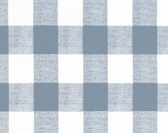 Cashmere Blue and White Buffalo Check Curtains - Rod Pocket - 84 96 108 or 120 Long by 24 or 50 Wide - Optional Blackout Lining