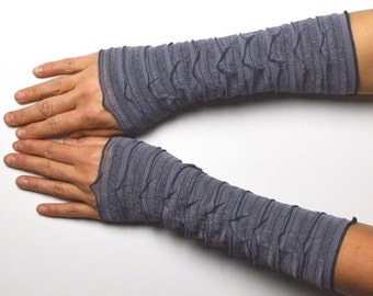 Mittens Arm Warmers light Wrist Warmers  jersey grey silver flouncy romantic go out