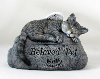 Ceramic Engraved Painted Two Piece Cat Cremation Urn - hand made pet urn
