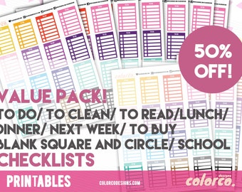 Stackable Sidebar Checklists Printable Planner Stickers Erin Condren ECLP Happy Planner Instant Digital Download
