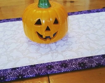 Reversible Halloween Table Runner, Spiders, Spiderwebs, Ghosts, BOO, Purple and White Halloween Home Decor, Table Linens, Arachnid Lovers