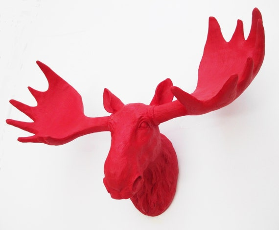 Moose head faux taxidermy moose white moose head - Fake moose head ...