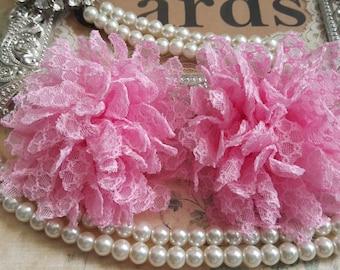 Set of 2 Pink Fabric Flowers /  Large Fabric Flower / Diy headband flower  FLW-08  NO CLIPS