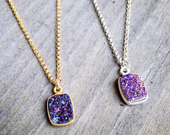 Gold or Silver Purple Colored Druzy Charm Necklace on 14k Gold Filled or Sterling Silver Chain Violet Pendant Necklace Druzy Sparkle