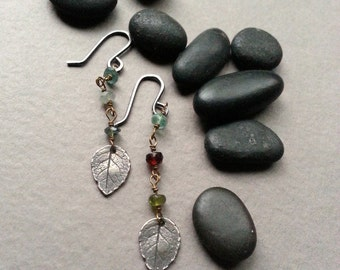 Sterling Silver Leaf Earrings, Dangle Earrings, Rosary Chain, Gemstone Beads, Oxidized Silver Ear Wires, Boho Bohemian Design, Colorful