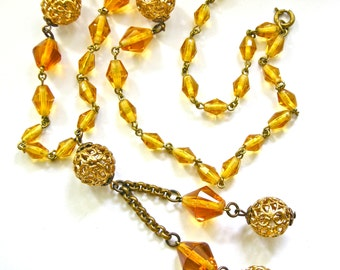 Art Deco CZECH Amber Glass Beads Vintage Necklace 1920s