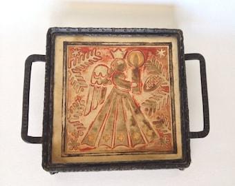 Christmas Trivet Angel Tile Footed Wrought Iron Pot Holder Vintage