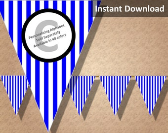 Royal Blue Stripes Bunting Pennant Banner Instant Download, Party Decorations