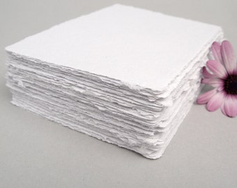 White handmade paper, recycled, deckle edge, 10 sheets, 4x5.25 inch