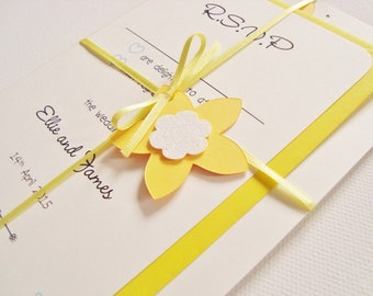 Personalised Handmade Daffodil Ribbon Tied Wedding Invitation and RSVP Sample