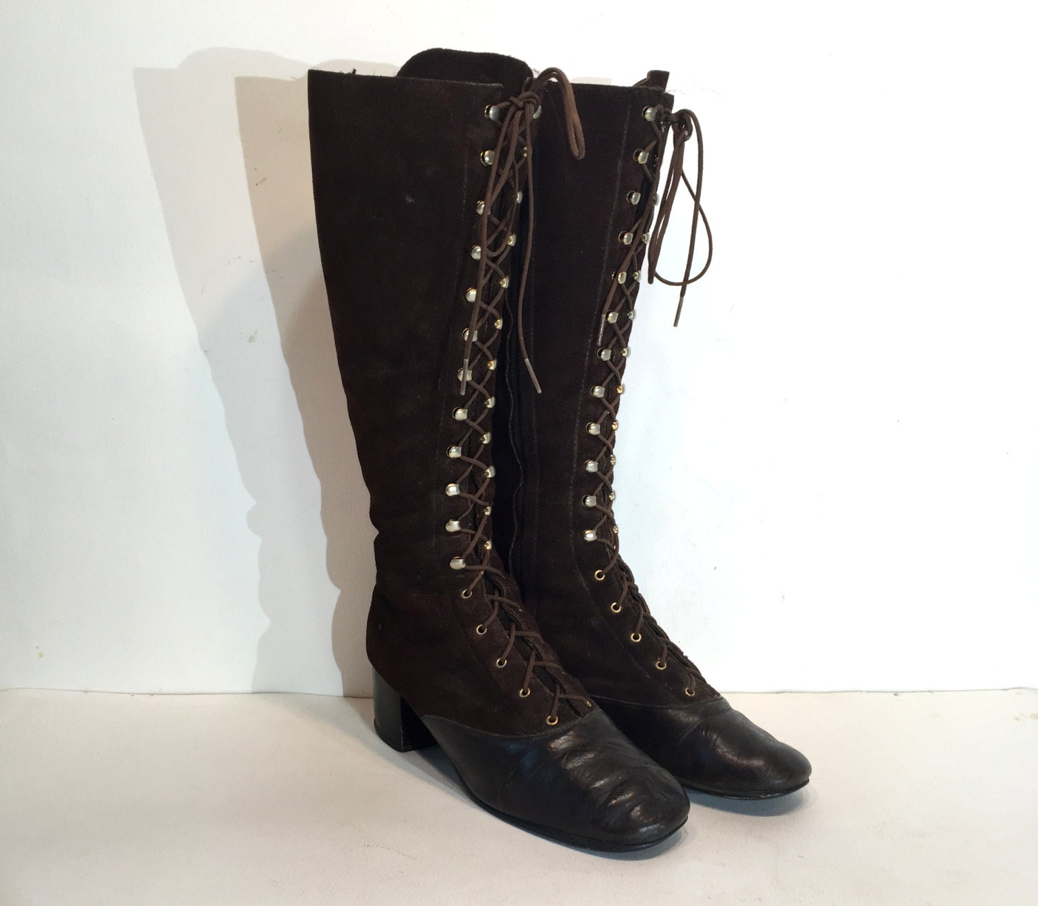 vintage lace up boots go go boots size 7 1960s brown