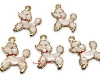 Set of 5 White Poodle Charm Dog Charm Mini Size