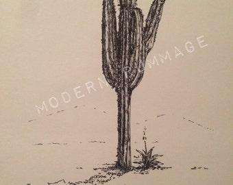 "Wiser 13""x16"" Saguaro Cactus: Framed Original"
