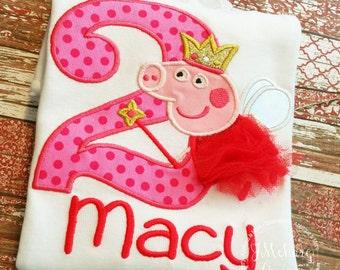 Fairy Princess Peppa Pig Birthday Custom Tee Shirt - Customizable -  Infant to Youth 345