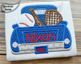 Baseball or Softball Vintage Truck Custom Tee Shirt - Customizable