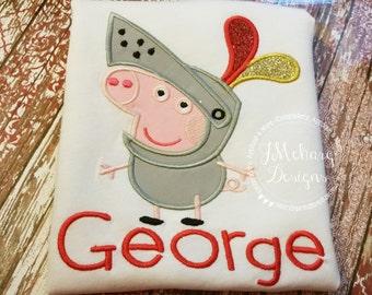 Peppa Knight George Birthday Custom Tee Shirt - Customizable -  Infant to Youth 193