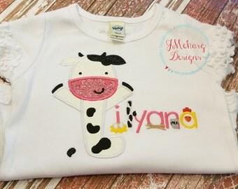 Farm Birthday Shirt - Cow Barnyard Birthday Shirt -  Custom Tee Personalized Birthday Tee 90
