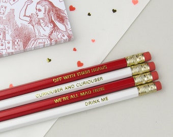 Alice in Wonderland Pencil Set - Engraved Quote Pencils - Stationery Gift for Book Lover - Alice in Wonderland Gift