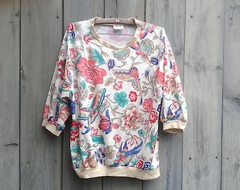 Vintage top | 1970s Aileen floral print long sleeve pullover raglan top
