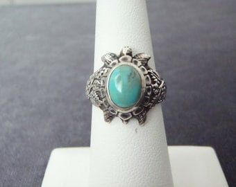 Sterling Silver Turquoise Turtle Ring Sz.5 3/4 R133