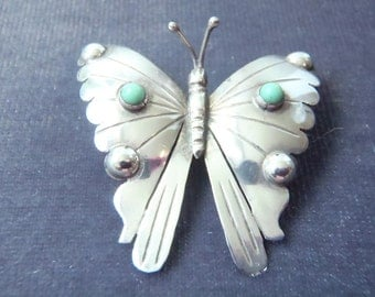 Sterling Silver Turquoise Butterfly Brooch  BR1