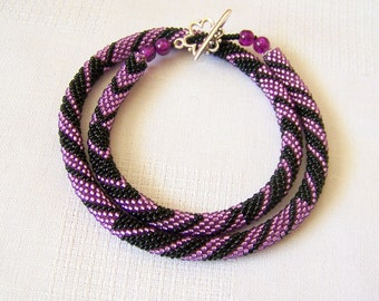 Black and Violet Bead crochet rope necklace - Beadwork necklace - Seed beads jewelry - Elegant necklace