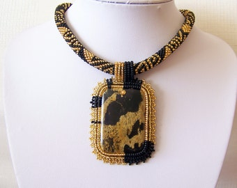 Beadwork Bead Embroidery Pendant Necklace with Chinese Painting Jasper - GOLDEN BIRD - black and gold - modern necklace - statement necklace
