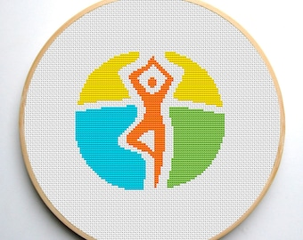 Cross stitch pattern PDF Yoga Instant Download