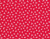 Tiny Red Flowers - Red Fabric - Tiny White Flowers - Apple Farm - Elea Lutz -  Penny Rose Fabric - C5455 - Cotton Fabric