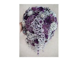 Cascading Brooch bouquet. Purple and Silver wedding brooch bouquet, Jeweled Bouquet