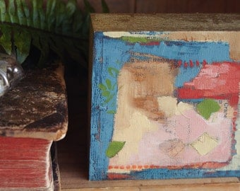 """tiny abstract composition #10  4x4 oil & collage on 1.5"""" artist panel"""
