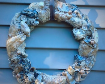 Oyster wreath, Nautical wreath, Beach House Decor, Housewarming Gifts for her
