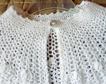 First Communion Cape / Communion Accessories / White Crocheted Cape for Girls / Handmade Poncho