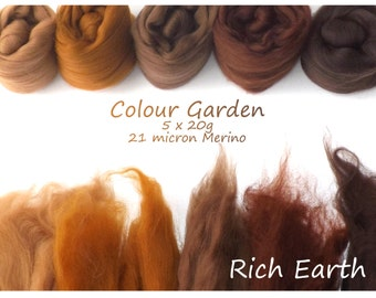 Brown Merino Shade sets - 21 micron Merino wool - 100g - 3.5oz - 5 x 20g - Colour Garden - RICH EARTH