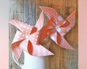 Pinwheels - Peach and Mint - Polka Dot