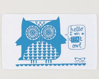 Blue owl tea towel
