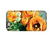 Ranunculus Iphone case - 3D full image wrap floral Iphone case - flower Iphone case - orange green Iphone 6 case - Iphone 6S 3D Iphone case