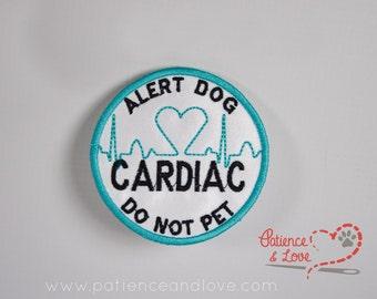 1 Patch, Sew-on, 3 inch round, Custom Cardiac Alert Dog - do not Pet