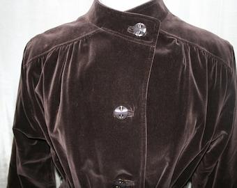 Vintage Brown Velvet Coat/ Velvet Belted Coat/ 1960s Velvet Coat/ Weatherbee Coat