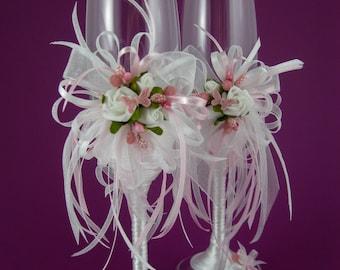 Wedding Crystal Glasses, Toasting Flutes, Champagne Flutes, Champagne Glasses, White Wedding, Crystal Glasses, Pink wedding, Roses